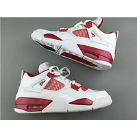 "Air Jordan 4 ""Alternate ""89 while red Basketball Shoes 36-47"