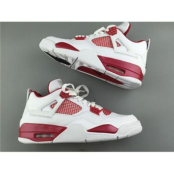 "Air Jordan 4 ""Alternate ""89 while red Basketball Shoes 40-47"