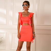 yelainse29 Explosive fluorescent color ruffled navel crop top skirt sexy two-piece suit