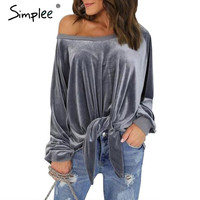 Simplee Casual off shoulder velvet hoodie sweatshirt Elegant long sleeve hoodies women Spring loose strappy bow pullover tops