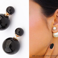 Shiny Black double pearl earrings, Faux Pearl tribal style stud earrings trendy double facing bauble statement celebrity style jewelry