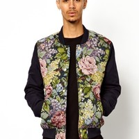 ASOS Bomber With Floral Body - Black