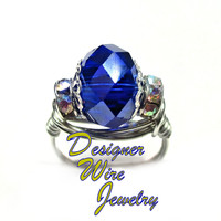 DWJ0252 Faceted Cobalt Blue Crystal Silver Wire Wrap Ring All Sizes