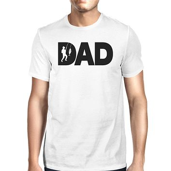 Dad Fish Mens White T-Shirt Funny Gifts For Dad Who Loves Fishing