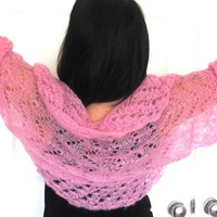 Light Pink silk shrug, hand knit kid mohair and silk sweater shrug, luxury knitwear by PZM Designs