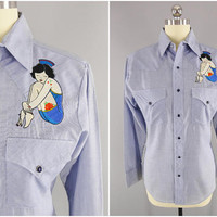 1960s Vintage / Ranch Western Wear / Embroidered Japanese Tattoo Girl / Pearl Snap Western Shirt / Made in USA / Size S / Fitted / Scalloped