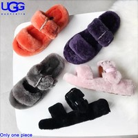 UGG fashionable sheep fur integrated slippers are hot sellers of casual ladies' velvet sandals