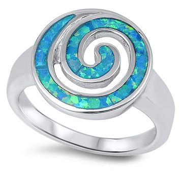 Swirl Pattern Style with Blue Simulated Opal in Sterling Silver Band