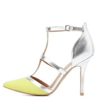 Lemon Qupid T-Strap Pointed Toe Heels by Qupid at Charlotte Russe