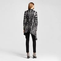 Women's Long Sleeve Black Patterned Waterfall Cardigan - Mossimo Supply Co.™ (Juniors')
