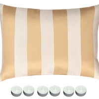 """Manual Woodworkers THRIVY Royal Ivy Tapestry 18""""x13"""" Rectangle Pillow with 6-Pack Tea Candles"""
