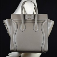 CELINE NWT New Mini Luggage Satchel Tote Bag Purse Leather Grey Gray Taupe Olive