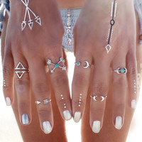 6PCS Vintage Turkish Beach Punk Moon Arrow Ring Set Ethnic Carved Silver Plated Boho Midi Finger Ring Knuckle Charm anelli+ Gift box!