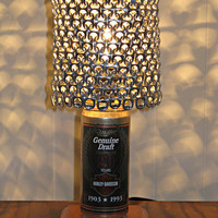 Vintage Miller Genuine Draft 90 Years Harley Davidson Beer Can Lamp With Pull Tab Lampshade - The Mancave Essential