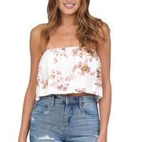 Ivory Floral Strapless Crop Top at Blush Boutique Miami - ShopBlush.com : Blush Boutique Miami – ShopBlush.com