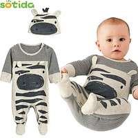 New Born Boy/Gril Romper Long Sleeve one piece suit +Hat Children Clothes