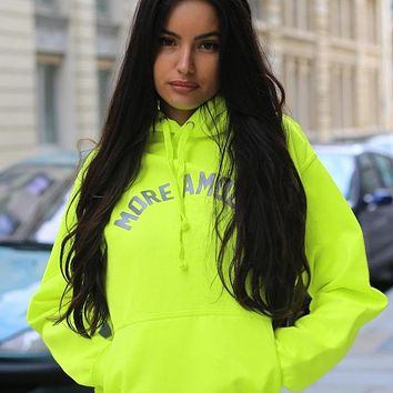 Trendy brand sweater street reflective letters fashion hooded loose sweater spring flourescent green hoodie