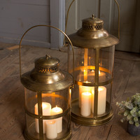 Round Ship Lantern with Antique Brass Finish Small