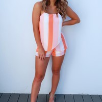She's Got You Wrapped Romper: Peach/Multi