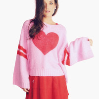 Heart Print Striped Bell Sleeve Sweater