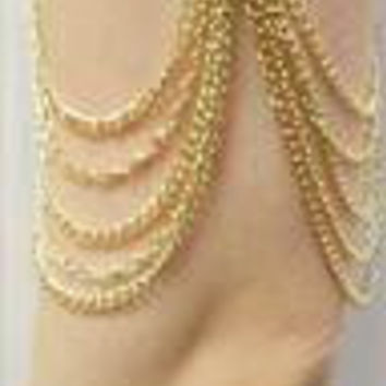 Goldtone Simple Bar with Multiple Layers of Tassels Arm Cuff