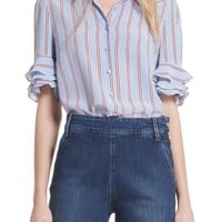 FRAME Ruffle Sleeve Silk Blouse (Nordstrom Exclusive) | Nordstrom