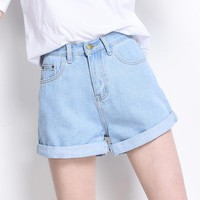 high quality Summer fashion women's high waist fold up denim shorts High waist jean shorts denim shorts