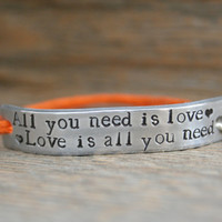 Friendship Bracelet ONE All You Need Is Love Hand Stamped Quote With Lobster Clasp Hemp Cord Couples Bracelet Jewelry Custom Personalized
