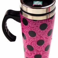 Pink Polka Dot Coffee Travel Mug 16oz Stainless Black SS Insulated Splash Guard