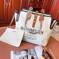 BURBERRY New Women Leather Canvas Handbag Tote Shoulder Bag Crossbody Satchel Wallet Two-Piece Set