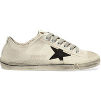 Golden Goose Deluxe Brand - V-Star 2 distressed suede and leather-paneled canvas sneakers