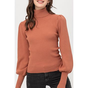 Ribbed Turtleneck Puff Sleeve Sweater (IL9796WN0) NEW