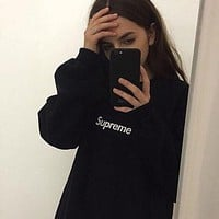"""Supreme"" Couple Casual Letter Print Velvet Long Sleeve Pullover Sweatshirt Top Sweater"