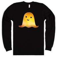 Orange Glowing Ghost-Unisex Black T-Shirt
