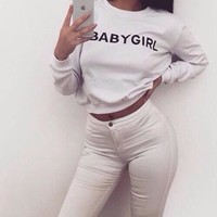 Babygirl White Cotton Pullover