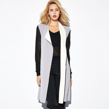Block Long-Sleeve Tie-Waist Coat