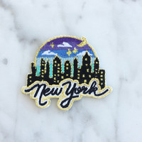 New York City @ Night Iron On Patch | Embroidered Appliqueh | NYC Skyline & Sunset