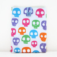 Skull print IPad case, tablet cover sleeve in bright colour skull fabric for IPad or IPad Air girly gift for teen uk seller