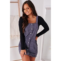 Leaves And Lattes Button Down Overall Dress (Navy)