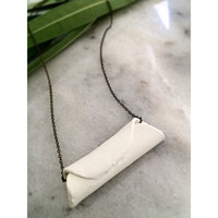 Handmade Asymetric White  Polymer Clay Charm  Necklace