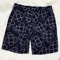LV Louis Vuitton New Black And White Petal Print Beach Casual Quick Dry Sport Shorts Black