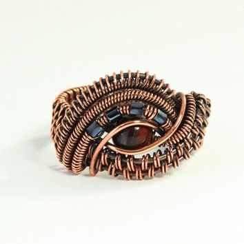 Copper Wire Ring, Woven Wire Jewelry, Tiger's Eye, Size 9 and One Half