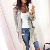 Fashion Long Sleeve Knit Cardigan Jacket Coat Knitwear