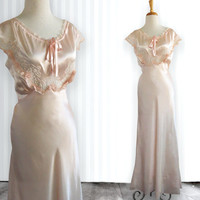 Vintage 1930s 1940s Forty Winks Satin & Lace Gown / Nightgown Intimates Bridal Wedding Bias Cut S 36