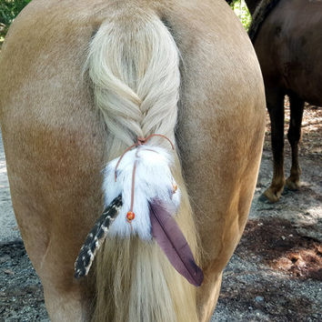 Faux Fur Equine Tail or Mane Ornament - Fur and Feather horse jewelry - Celtic, Viking, American Indian Style Horse Costume, Equine Costume