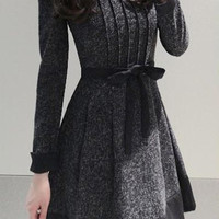 Dark Grey Long Sleeve Pleated Dress with Belt