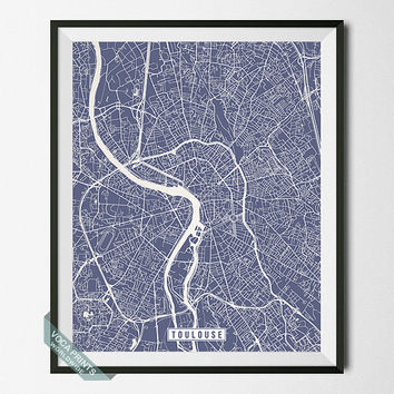 Toulouse Print, France Poster, Toulouse Map, Toulouse Poster, France Print, France Map, Street Map, Map Print, Wall Art