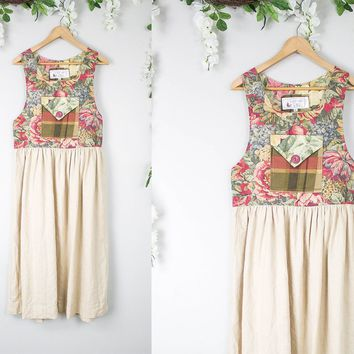 Vintage Linen Floral Sleeveless Dress