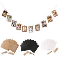 Hot 10PCS/Lot Paper Photo Frame DIY Wall Hang Picture Holder Photo Album With Rope Clip Weeding Birthday Decor Free Shipping