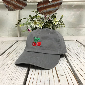 New Cherry Embroidery Baseball Cap Gray Low Profile Curved Bill Dad Cap